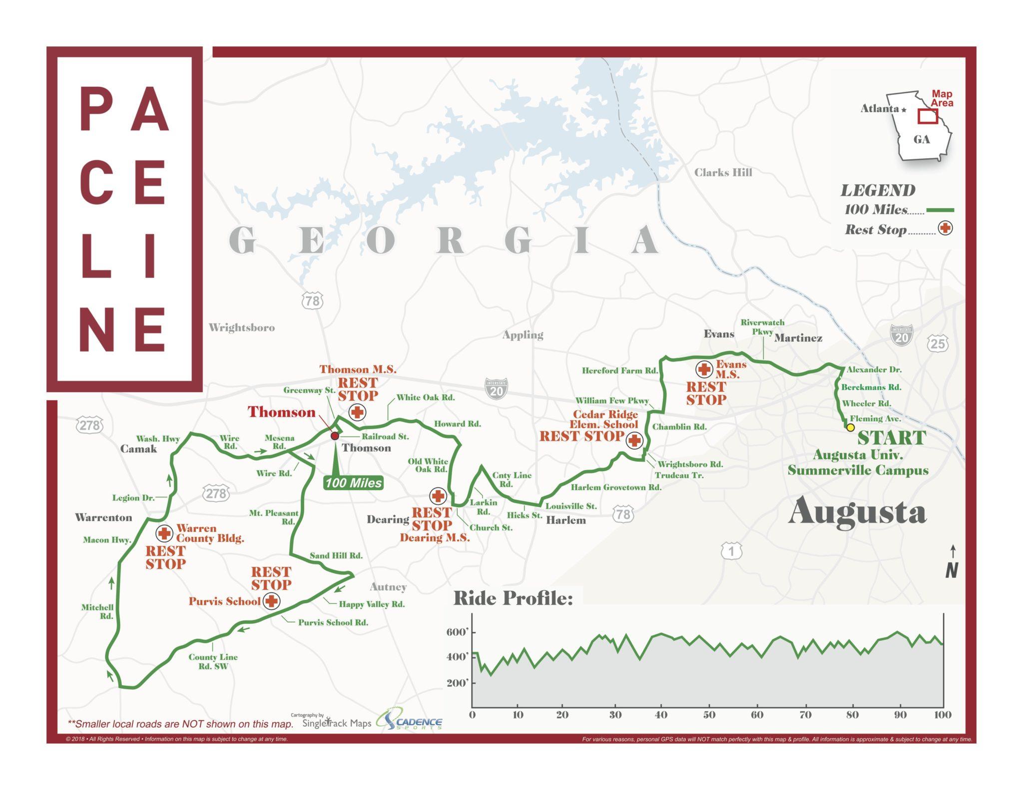 Paceline 100 Mile Route